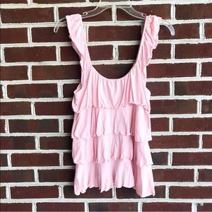 Express light pink tiered ruffle tank top size s
